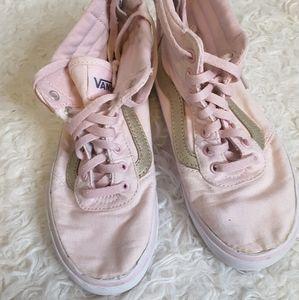 Vans pink silver Sk8-Hi zip sneaker size 1